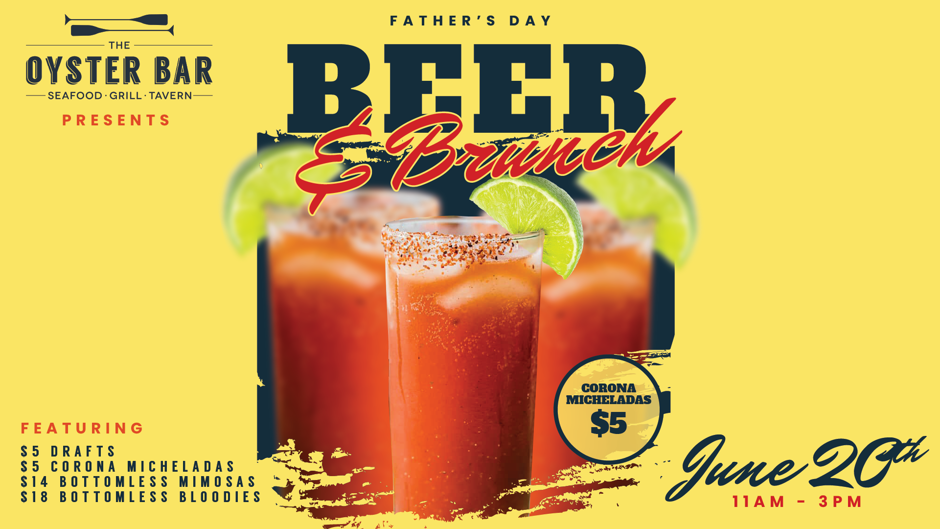 FATHER'S DAY BEER AND BRUNCH CELEBRATION AT THE OYSTER BAR!